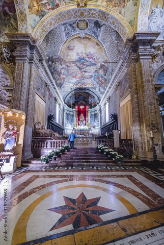 Interior of St Mary cathedral in Acireale town on Sicily Island, Italy Canvas Print