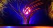 Abstrakte Formen, neonfarbig und syrreale 3D Illustration