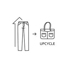 Upcycle Concept. Secondary Use Of Clothes. Reuse And Upcycling Sign. EPS 10 Vector Thin Line Illustration.