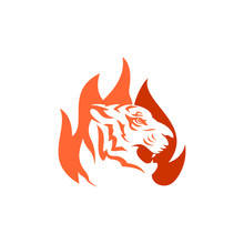 Tiger Fire Logo Vector Template