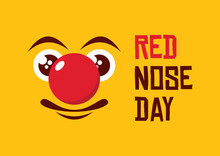 Red Nose Day Vector. Smiley Fa...