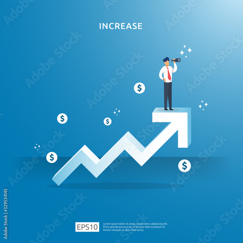 Fototapeta growth up arrow illustration concept for income salary rate increase with people character. business profit sale grow margin revenue with dollar symbol. Finance performance of return on investment ROI obraz