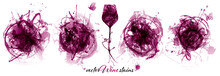 Set With Strokes Backgrounds And Red Wine Stains. Artistic Graphic Resource For Your Wine Designs.