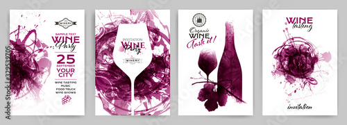 Obraz Collection of templates with wine designs. Brochures; posters; invitation cards; promotion banners; menus. - fototapety do salonu