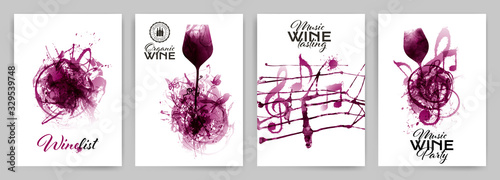 Obraz Set with strokes backgrounds and red wine stains. Artistic music symbols with spots. - fototapety do salonu