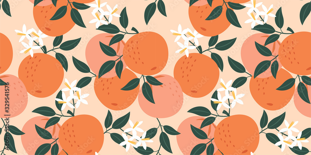 Fototapeta Orange pattern. Vector seamless texture.