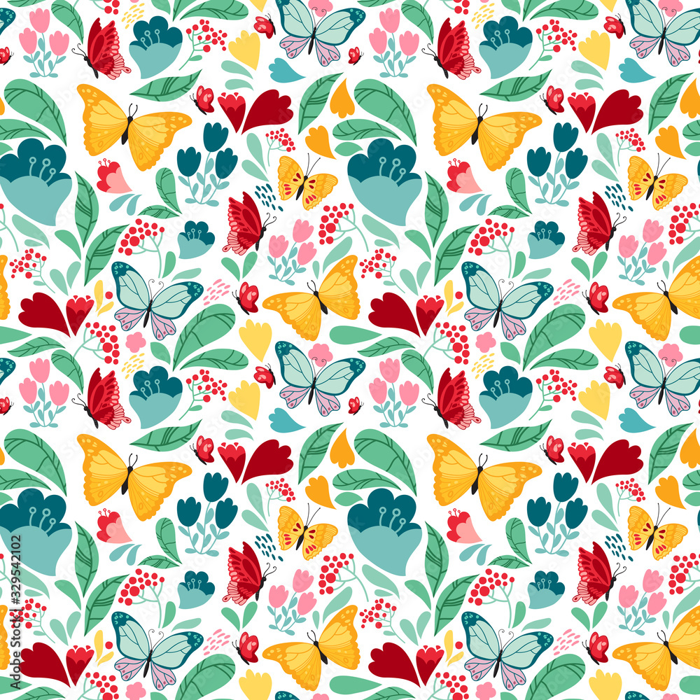Colourful seamless pattern with flowers and butterflies on white background. Vector design.