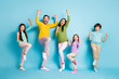 canvas print picture Full length body size view of nice attractive lovely adorable ecstatic overjoyed cheerful cheery big full family celebrating luck isolated on bright vivid shine vibrant blue color background