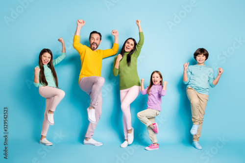 Fototapeta Full length body size view of nice attractive lovely adorable ecstatic overjoyed cheerful cheery big full family celebrating luck isolated on bright vivid shine vibrant blue color background obraz