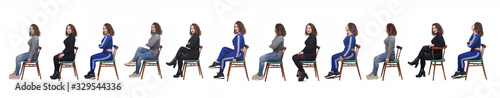 Fotografía large group of a same woman sitting of profile with different ways of dressing o