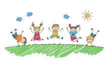 Happy Children Jump Together In Summer Park. Funny Jumping Kids. Children Drawing Painted With Markers. Doodle Hand Drawn Vector Illustration