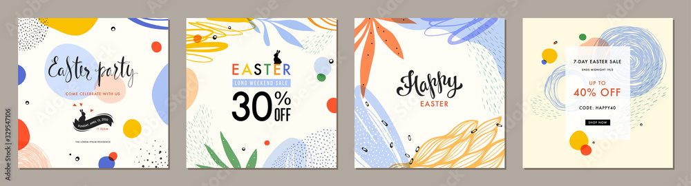 Fototapeta Trendy Easter square abstract templates. Suitable for social media posts, mobile apps, cards, invitations, banners design and web/internet ads.