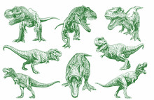 Graphical Set Of Green Tyranno...