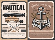 Nautical Anchor And Old Naval Cannon Vector Heraldic Poster. Sailing Ship Anchors, Marine Tridents, Cannon And Pirate Swords, Cannonballs And Vintage Ribbon Banner, Nautical Adventure Retro Posters