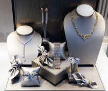 Pendants And Bracelets With Dimonds In Jewelry Store