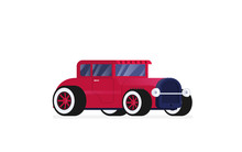 Flat Vector Retro Car Isolated On Color Background