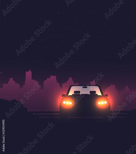 Obraz Night background with car vector, flat illustration - fototapety do salonu
