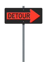 Vector Illustration Of The Detour Right Arrow Orange Road Sign On Metallic Post (easily Editable To Left Arrow With Illustrator)