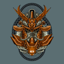 Mecha Head Samurai With Sacred Geometry Pattern