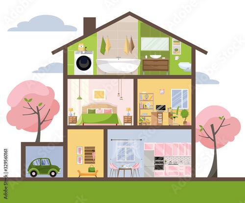 House in cut Wallpaper Mural