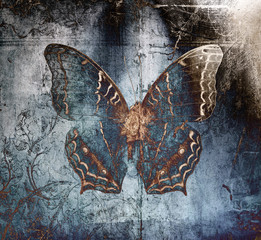 butterfly metal blue