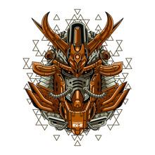 Mecha Head Samurai With Sacred Geometry Pattern