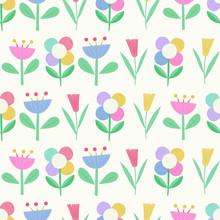 Geometric Flowers Seamless Vec...