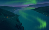 Winter evening in the mountains with the northern lights