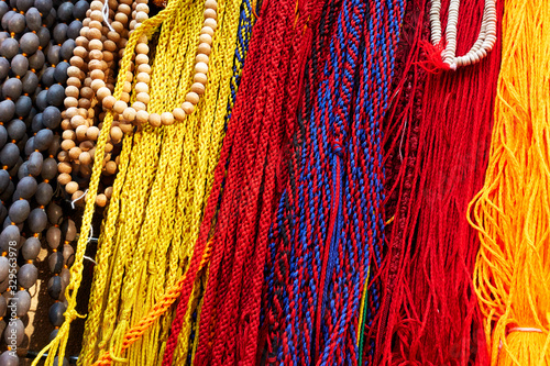 Indian laces of different colors and beads Wallpaper Mural