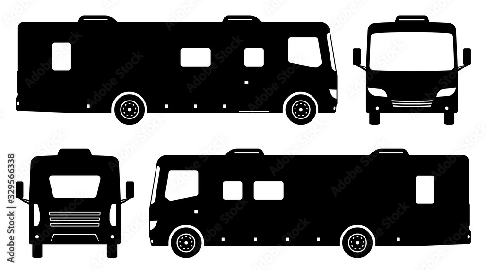 Fototapeta RV camper van silhouette on white background. Vehicle icons set view from side, front and back