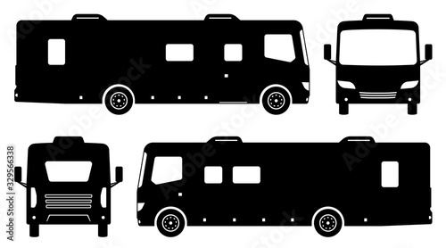 Fototapeta RV camper van silhouette on white background. Vehicle icons set view from side, front and back obraz