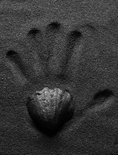 Handprint In The Black Volcanic Sand Of The Beach. Black Design. Poster.