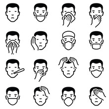 Man Face Illness Disease Flu Medical Healthcare Emoticons Icon Collection - Vector Outline Illustration