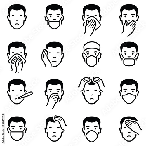 Fotografiet Man face illness disease flu medical healthcare emoticons icon collection - vect