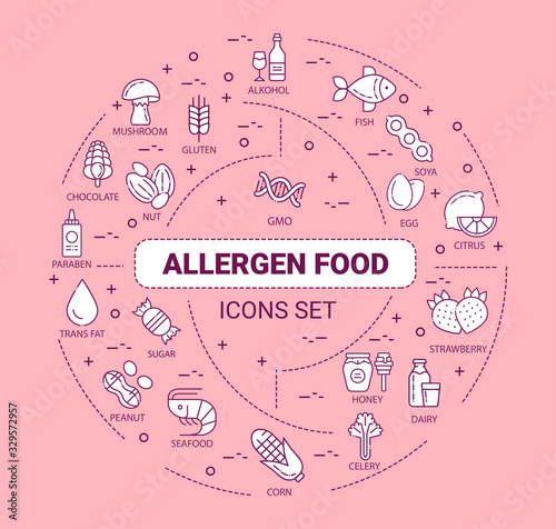 Allergy food web banner Canvas Print
