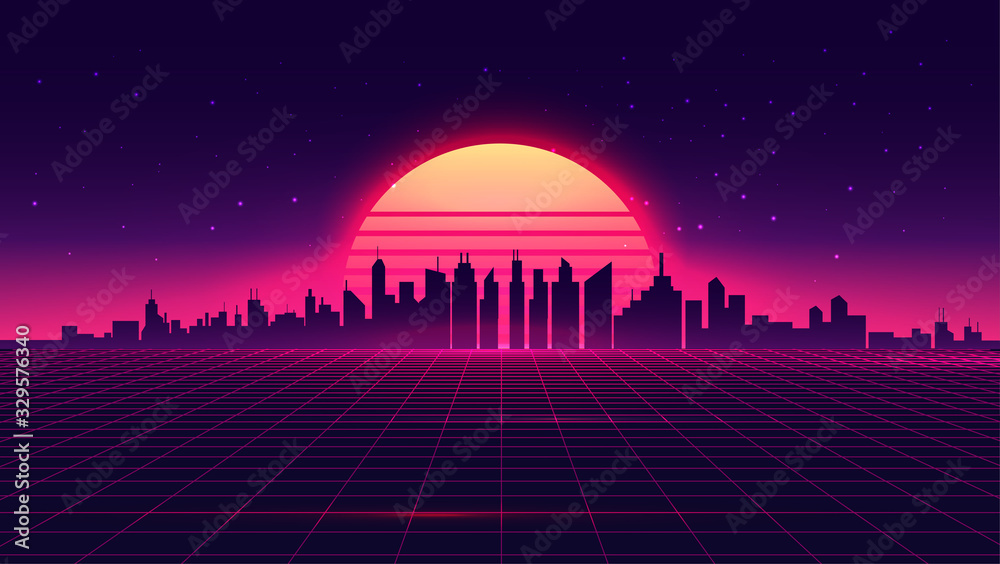 Fototapeta Retro futuristic synthwave retrowave styled night cityscape with sunset on background. Cover or banner template for retro wave music. Vector illustration.