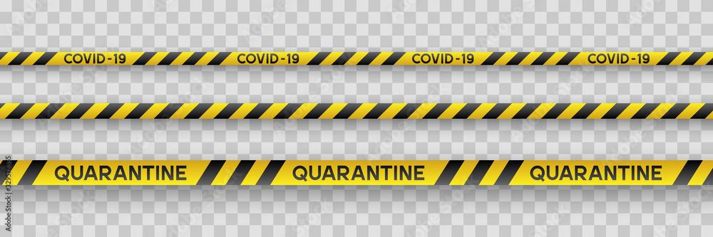 Fototapeta Warning coronavirus quarantine yellow and black stripes. Isolated on transparent background. Quarantine biohazard sign. Vector.
