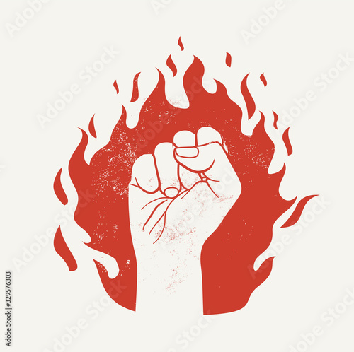 Raised up fist on red fire flame silhouette Wallpaper Mural