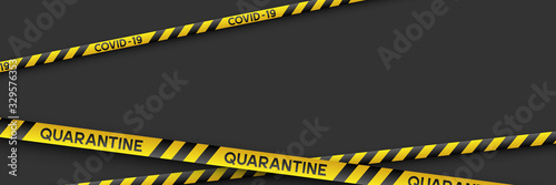 Obraz Warning coronavirus quarantine banner with yellow and black stripes. Black background with copy space. Quarantine biohazard sign. Vector. - fototapety do salonu