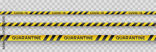 Warning coronavirus quarantine yellow and black stripes. Isolated on transparent background. Quarantine biohazard sign. Vector.