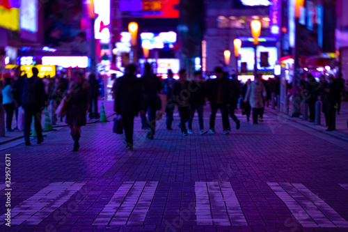 A night neon street at the downtown in Akihabara Tokyo Canvas Print