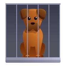 Sad Dog In Shelter Cage Icon. Cartoon Of Sad Dog In Shelter Cage Vector Icon For Web Design Isolated On White Background