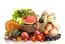 Summer Assorted Of Fruit And Vegetable Composition In Wicker Basket