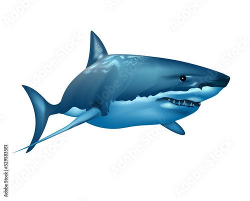 Photo Realistic shark in the ocean on white background. Wall stickers