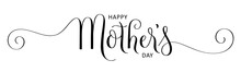 HAPPY MOTHER'S DAY Black Vector Brush Calligraphy Banner With Spirals