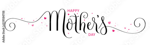 Obraz HAPPY MOTHER'S DAY black and pink vector brush calligraphy banner with hearts - fototapety do salonu