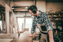 Circular Saw Cutting A Wooden ...