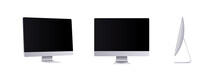 Personal Computer Mockup In Front, Side And Angle View. Silver Modern Flat Monitor For Business Presentation Or Website Design Show. Empty Screen Device Set, 3d Vector Illustration.