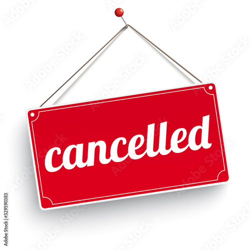 Sign Wooden Background Cancelled Canvas-taulu