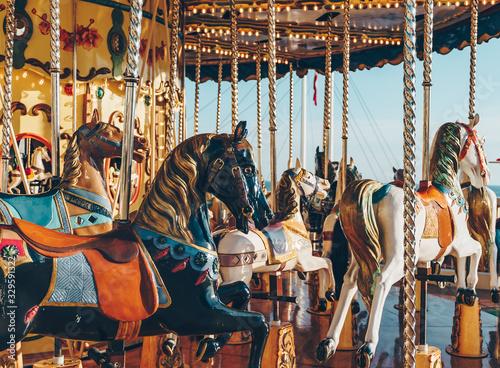 Obraz na plátně carousel in an amusement holiday park